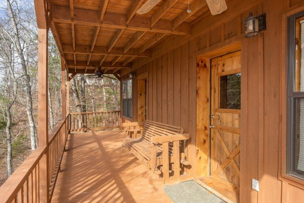 Deck off the lower level at Oh The View, a 3-bedroom cabin rental located in Pigeon Forge
