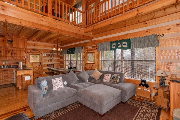 Large sectional sofa in the living room at Oh The View, a 3-bedroom cabin rental located in Pigeon Forge