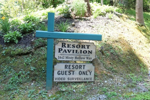 entrance sign to the resort pavilion near tranquil view cabin in gatlinburg tn