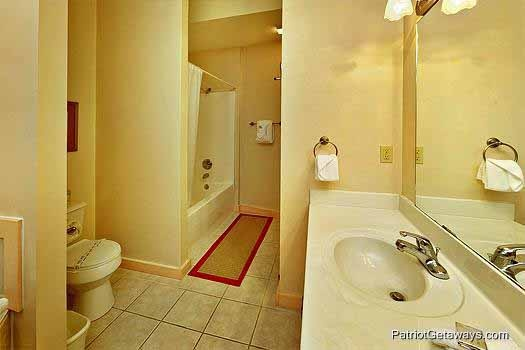 Attached master bath at Tranquil View, a 1 bedroom cabin rental located in Gatlinburg