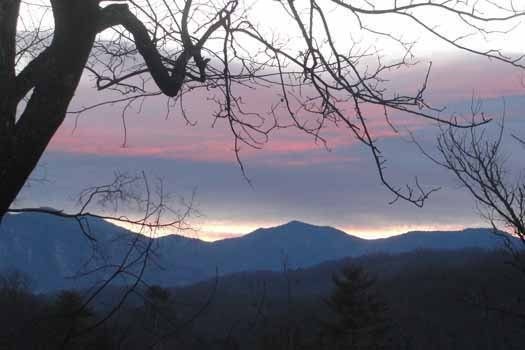 evening view of mountains at tranquil view a 1 bedroom cabin rental located in gatlinburg