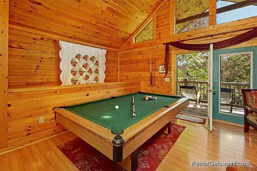 Game area with pool table at Tranquil View, a 1 bedroom cabin rental located in Gatlinburg
