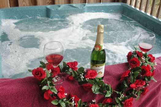 Hot tub on lower level at Tranquil View, a 1 bedroom cabin rental located in Gatlinburg