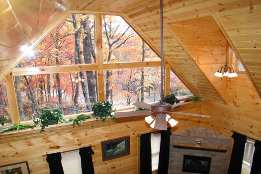 view out from the top of the stairs at dragonfly a 2 bedroom cabin rental located in gatlinburg