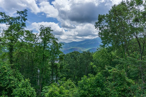 A view of the mountains framed by trees at Castle on the Hill, a 2-bedroom cabin rental located in Gatlinburg