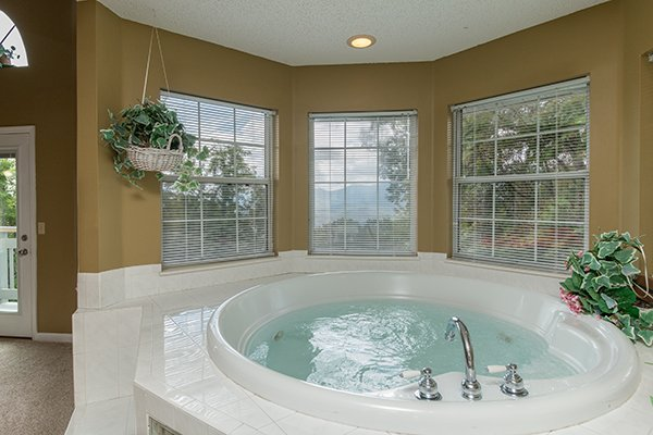In room jacuzzi at Castle on the Hill, a 2-bedroom cabin rental located in Gatlinburg