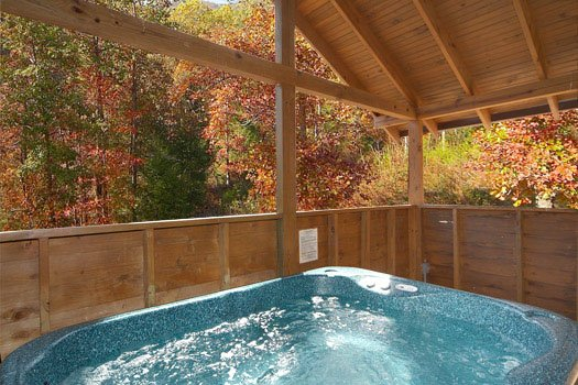 Hot tub at Hideaway, a 1 bedroom cabin rental located in Pigeon Forge