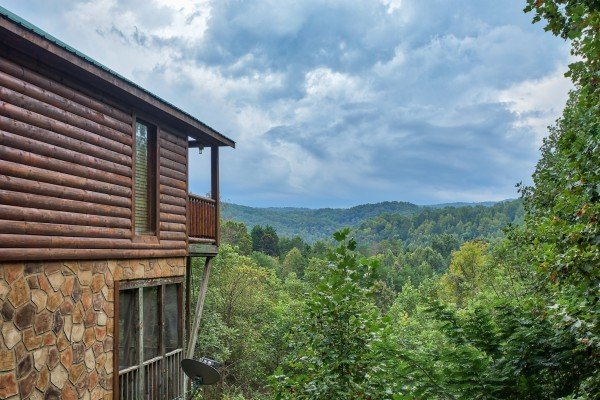 Mountains and the cabin at Paradise View, a 1 bedroom cabin rental located in Pigeon Forge