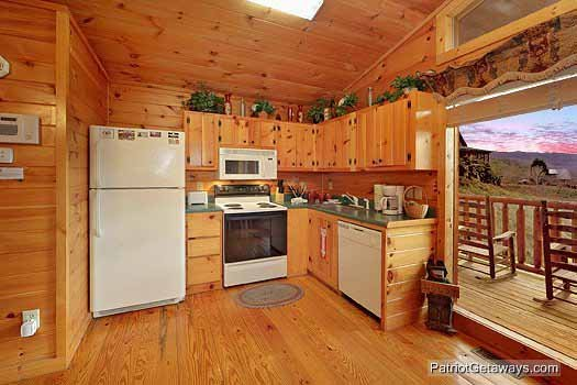 Kitchen area at Paradise View, a 1 bedroom cabin rental located in Pigeon Forge