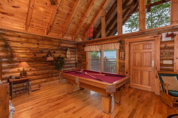 pool table on the first floor at alpine sunset thrill a 1 bedroom cabin rental located in pigeon forge