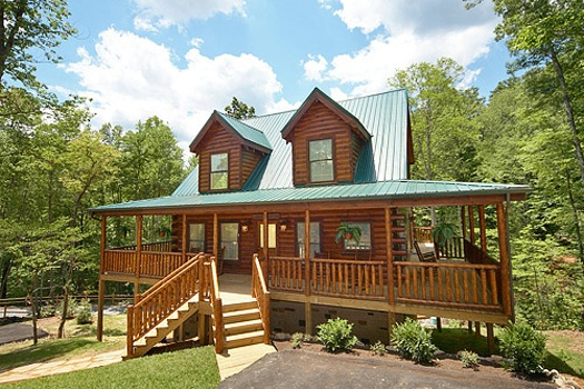Exterior front entrance at Pool House, a 2 bedroom cabin rental located in Gatlinburg
