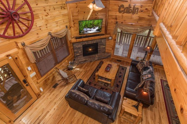 Looking down into the living room at Mountain View Meadows, a 3 bedroom cabin rental located in Pigeon Forge