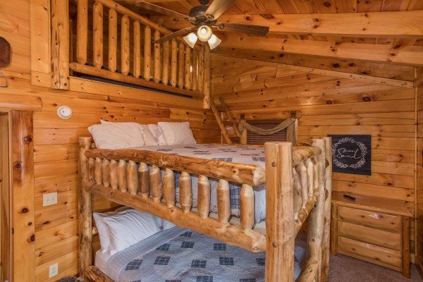 Sleeping loft above the bunks in the bunk room at Mountain View Meadows, a 3 bedroom cabin rental located in Pigeon Forge