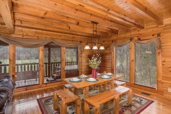 Dining table for six at Mountain View Meadows, a 3 bedroom cabin rental located in Pigeon Forge