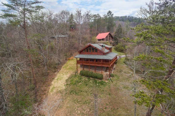 Looking back at the cabin at Mountain View Meadows, a 3 bedroom cabin rental located in Pigeon Forge
