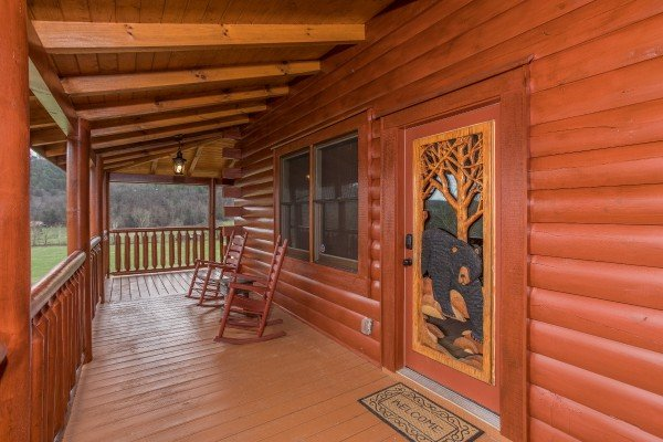 Custom front entry at Mountain View Meadows, a 3 bedroom cabin rental located in Pigeon Forge