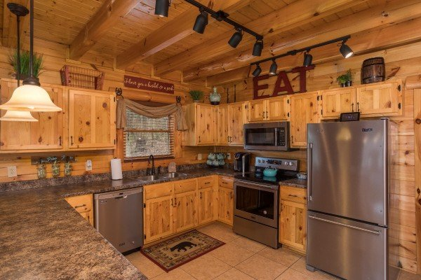 Kitchen with stainless appliances at Mountain View Meadows, a 3 bedroom cabin rental located in Pigeon Forge