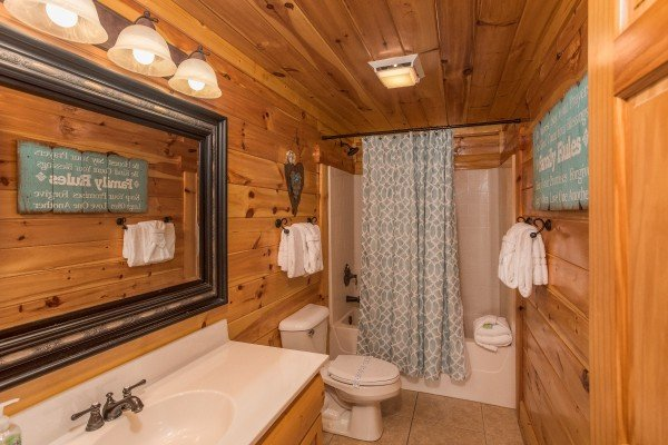 Bathroom on the upper floor at Mountain View Meadows, a 3 bedroom cabin rental located in Pigeon Forge