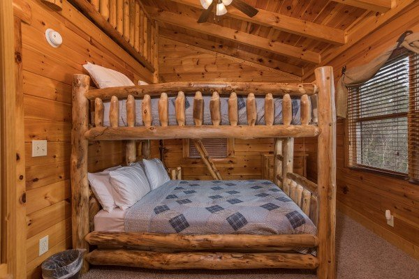 Queen bunk beds in a loft bedroom at Mountain View Meadows, a 3 bedroom cabin rental located in Pigeon Forge