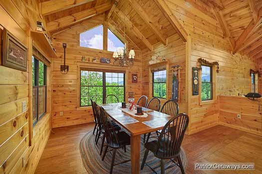 dining room with table at winter wonderland a 3 bedroom cabin rental located in pigeon forge