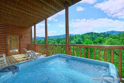 View from the hot tub at Winter Wonderland, a 3 bedroom cabin rental located in Pigeon Forge