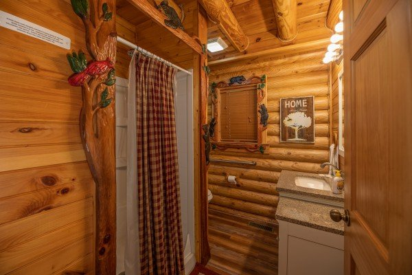 Bathroom with a shower stall at Creekside Lodge, a 6-bedroom cabin rental located in Pigeon Forge