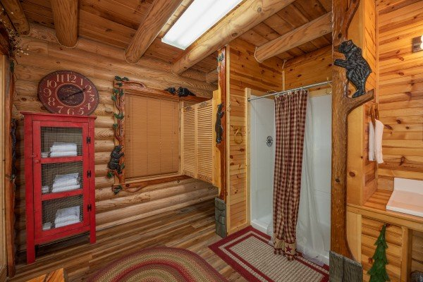 Bathroom with a large shower at Creekside Lodge, a 6-bedroom cabin rental located in Pigeon Forge