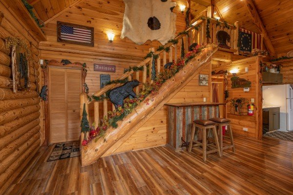 Stairway at Creekside Lodge, a 6-bedroom cabin rental located in Pigeon Forge