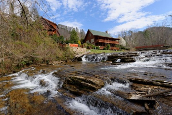 Cascades on the creek at Granny's Creekside Cabin, a 6-bedroom cabin rental located in Pigeon Forge