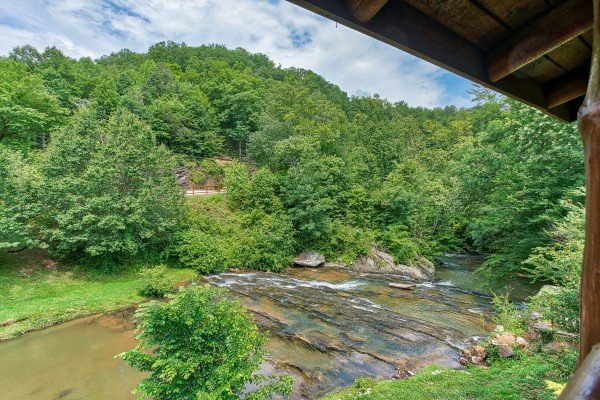 Creekside views at Granny's Creekside Cabin, a 6-bedroom cabin rental located in Pigeon Forge