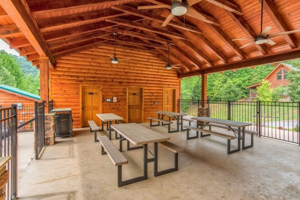 Changing rooms at the picnic pavilion at Creekside Lodge, a 6-bedroom cabin rental located in Pigeon Forge