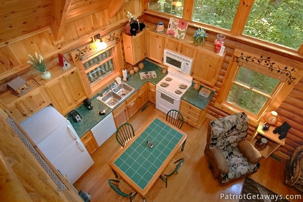 Looking down into kitchen from the loft at A Bear's View, a 1 bedroom cabin rental located in Gatlinburg