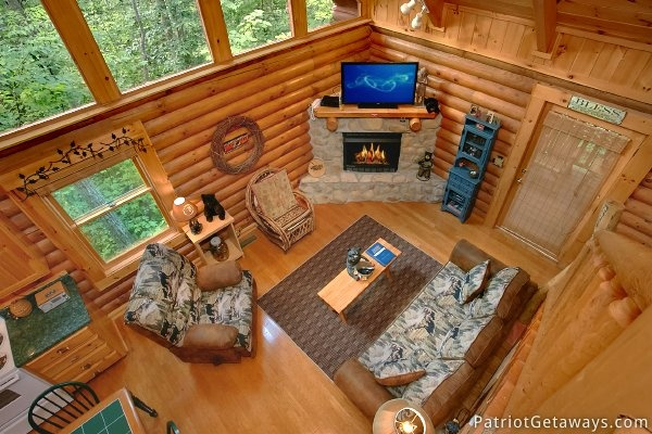 View of the living room from the loft A Bear's View, a 1 bedroom cabin rental located in Gatlinburg