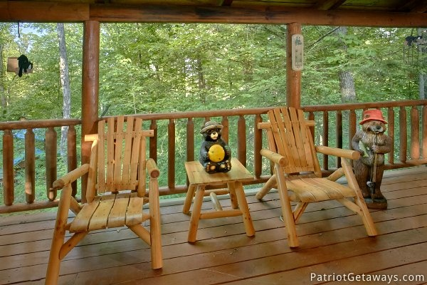 Unique seating and decor on the deck A Bear's View, a 1 bedroom cabin rental located in Gatlinburg