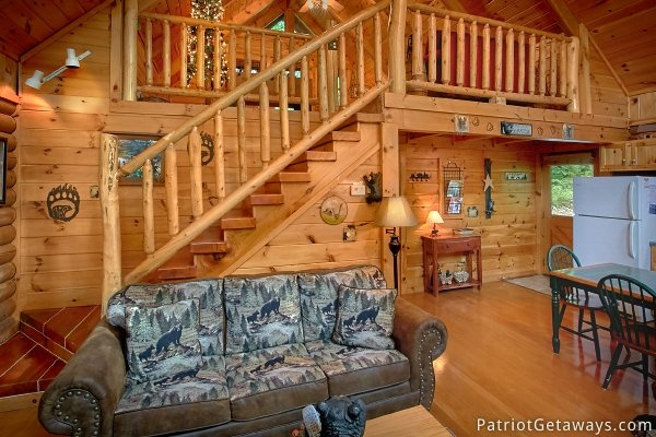 Sofa bed located in the living room at A Bear's View, a 1 bedroom cabin rental located in Gatlinburg