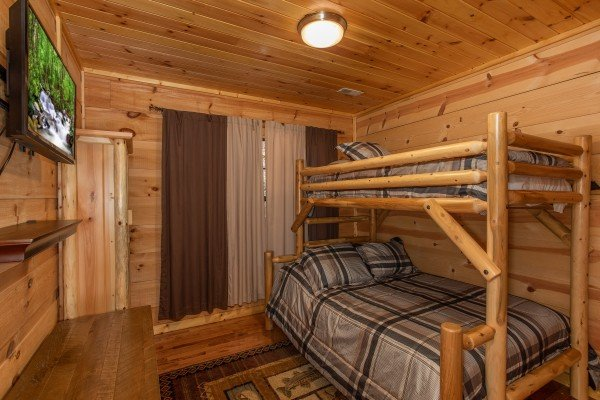 Bunk room at My Smoky Mountain Hideaway, a 3 bedroom cabin rental located in Pigeon Forge