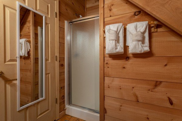 Shower in a bathroom at My Smoky Mountain Hideaway, a 3 bedroom cabin rental located in Pigeon Forge