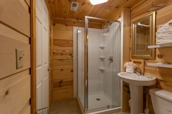 Bathroom with a shower at My Smoky Mountain Hideaway, a 3 bedroom cabin rental located in Pigeon Forge