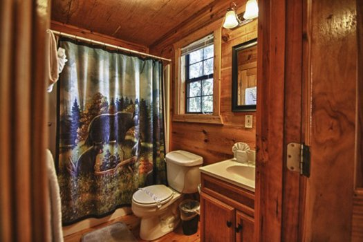 Bathroom on the main floor at Gnarled Oak, a 2-bedroom cabin rental located in Gatlinburg