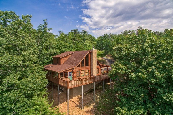 Looking down at the cabin from a drone at Cabin in the Clouds, a 3-bedroom cabin rental located in Pigeon Forge