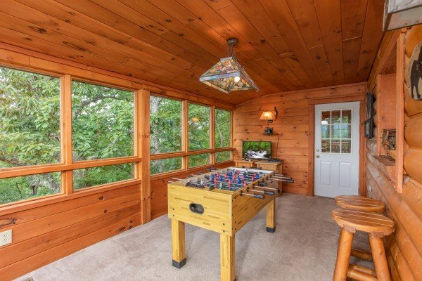 Foosball table at Cabin in the Clouds, a 3-bedroom cabin rental located in Pigeon Forge