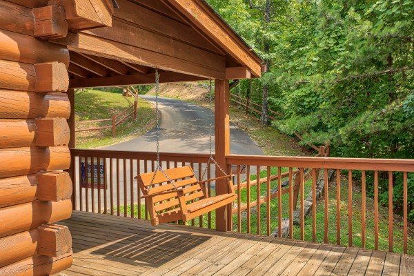 Porch swing at Cabin in the Clouds, a 3-bedroom cabin rental located in Pigeon Forge