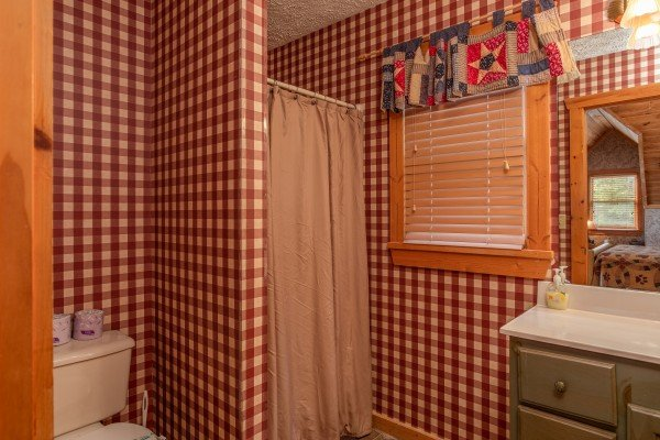 Bathroom with a walk-in shower at Cabin in the Clouds, a 3-bedroom cabin rental located in Pigeon Forge