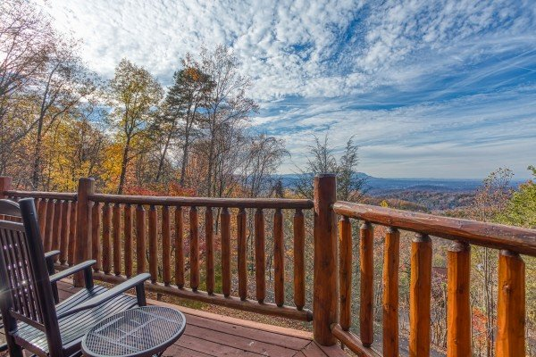 Mountain view with rocking chairs at The Original American Dream, a 2 bedroom cabin rental located in Gatlinburg
