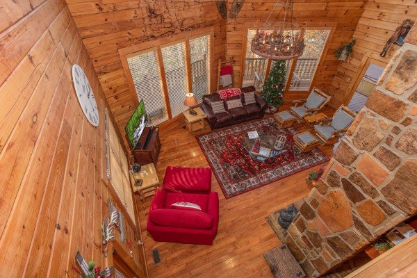 Overhead view of the living room at The Original American Dream, a 2 bedroom cabin rental located in Gatlinburg