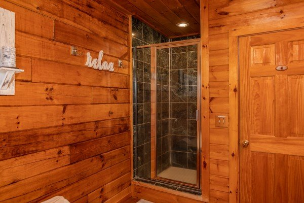 Walk in shower at The Original American Dream, a 2 bedroom cabin rental located in Gatlinburg