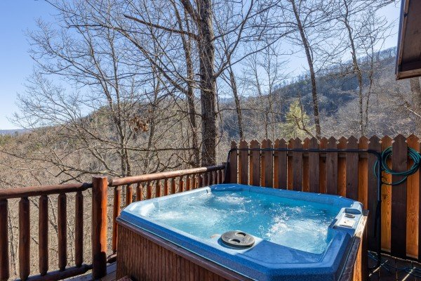 Hot tub at Hatcher Mountain Retreat a 2 bedroom cabin rental located in Pigeon Forge