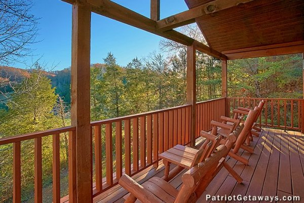 Porch at A Getaway with a View, a 2 bedroom cabin rental located in Pigeon Forge