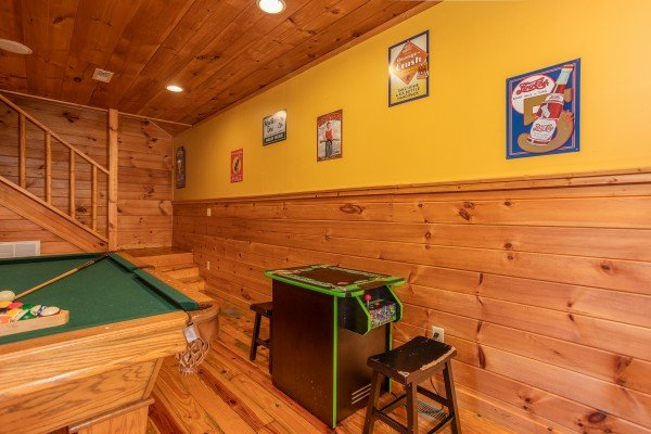 Arcade game at A Getaway with a View, a 2 bedroom cabin rental located in Pigeon Forge