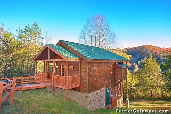 Exterior shot at A Getaway with a View, a 2 bedroom cabin rental located in Pigeon Forge